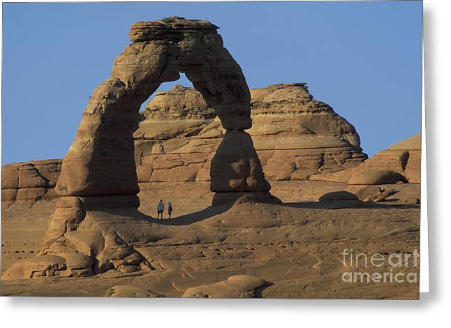 The Scale Of Delicate Arch Greeting Card by Stan and Anne Foster