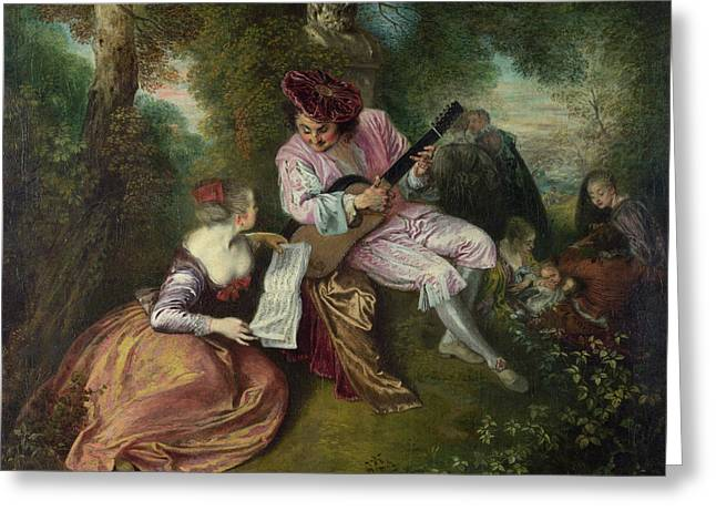 Sculpture Paintings Greeting Cards - The Scale of Love Greeting Card by Jean Antoine Watteau