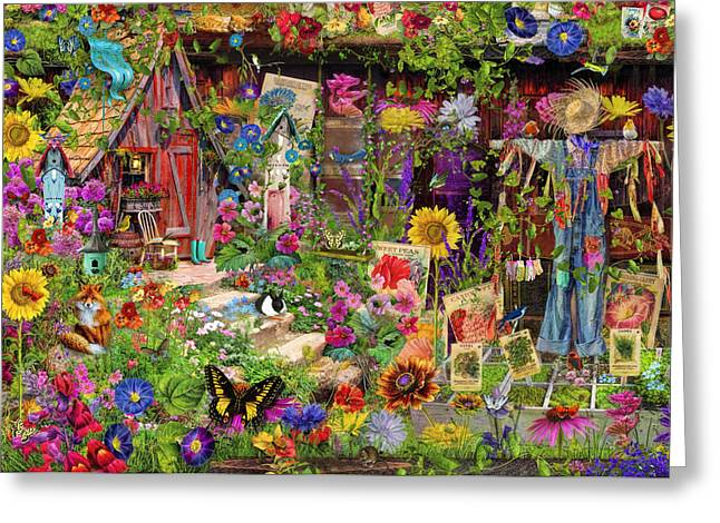 The Scarecrows Garden Greeting Card by Aimee Stewart