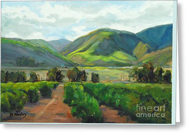 The Scent Of Citrus - Santa Paula Citrus Grove Central Coast Landscape Greeting Card by Karen Winters