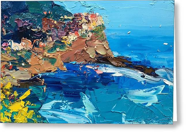 The Scent Of Sea In Manarola Greeting Card by Agostino Veroni