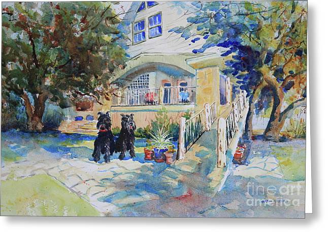 The Schnauzer's Lake House Greeting Card by Marsha Reeves
