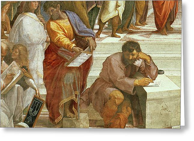 The School Of Athens, Detail Of The Figures On The Left Hand Side Greeting Card by Raphael