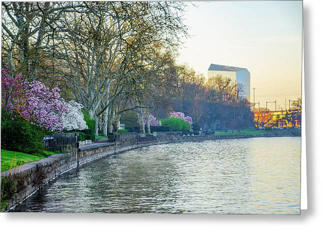 The Schuylkill River In Spring  Greeting Card by Bill Cannon