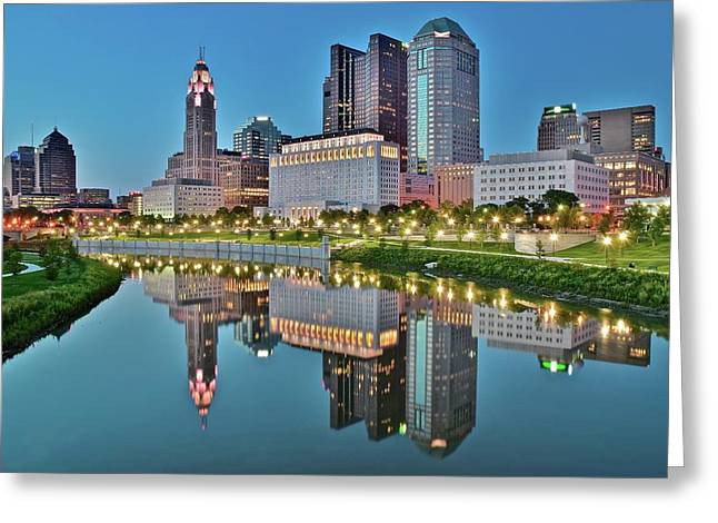 The Scioto At Blue Hour Greeting Card