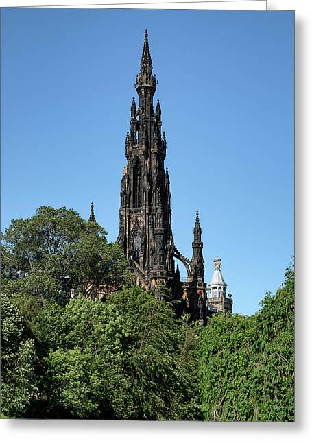 Greeting Card featuring the photograph The Scott Monument In Edinburgh, Scotland by Jeremy Lavender Photography