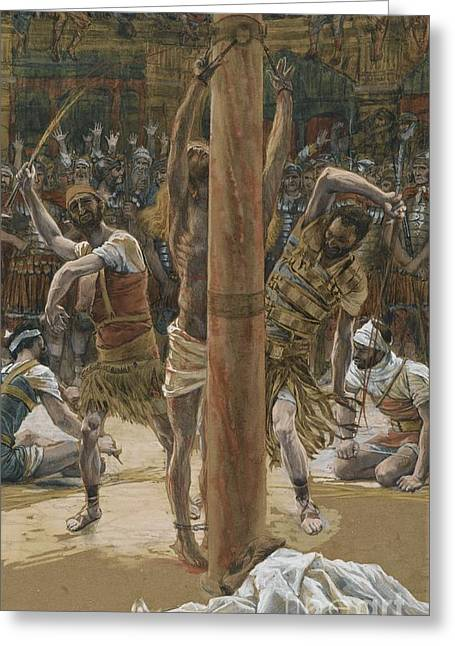 Mocking Greeting Cards - The Scourging on the Back Greeting Card by Tissot