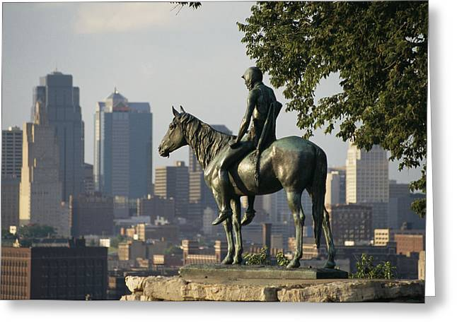 Urban And Suburban Ways Of Life Greeting Cards - The Scout, A Native American Equestrian Greeting Card by Michael S. Lewis