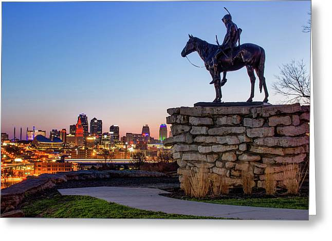 The Scout Overlooking The Kansas City Skyline Greeting Card