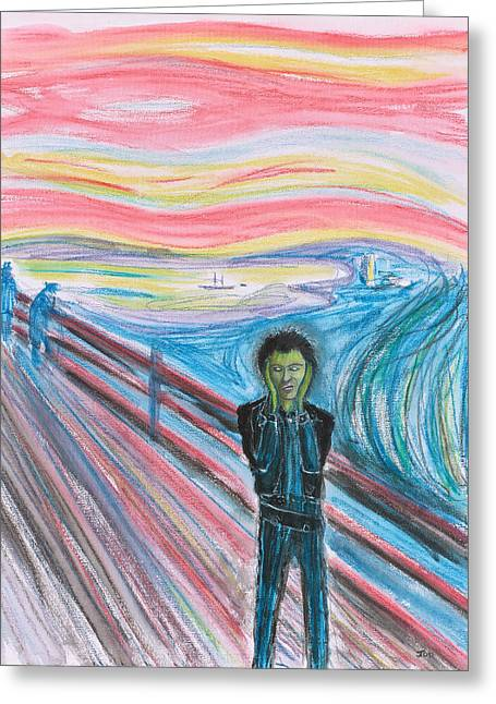 The Scream. Sid Vicious Greeting Card by Joe Odonovan