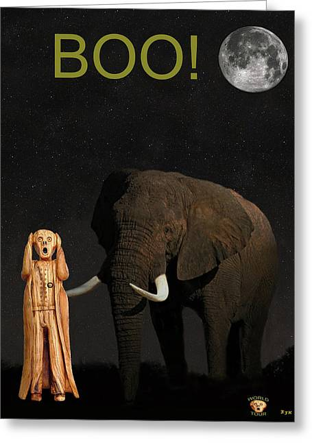 The Scream World Tour African Elephant Boo Greeting Card