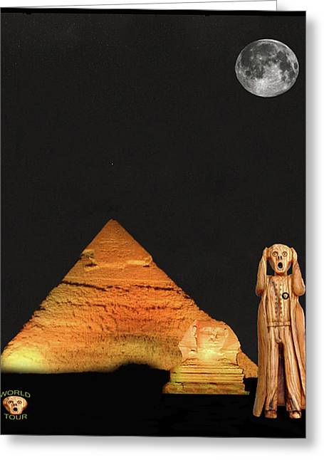 The Scream World Tour Egypt Greeting Card by Eric Kempson
