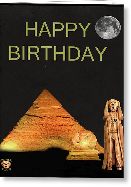The Scream World Tour Egypt Happy Birthday Greeting Card by Eric Kempson