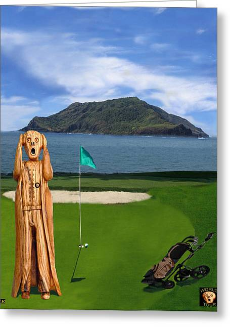 The Scream World Tour Golf  Greeting Card by Eric Kempson