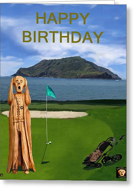 Us Open Mixed Media Greeting Cards - The Scream World Tour Golf  Happy Birthday Greeting Card by Eric Kempson