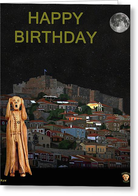 The Scream World Tour Molyvos Lesvos Greece Happy Birthday Greeting Card by Eric Kempson