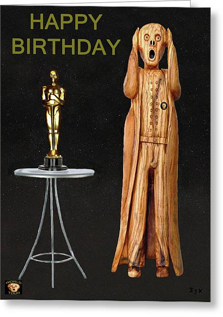 Theatre World Award Greeting Cards - The Scream World Tour Oscars Happy Birthday Greeting Card by Eric Kempson