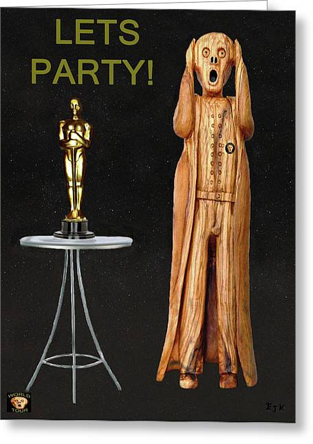 Theatre World Award Greeting Cards - The Scream World Tour Oscars Lets Party Greeting Card by Eric Kempson