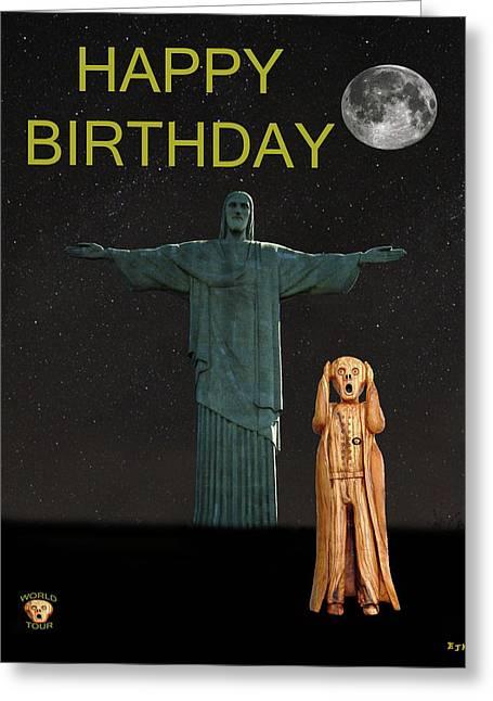 The Scream World Tour Rio Happy Birthday Greeting Card by Eric Kempson