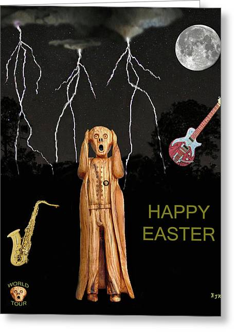 Scream World Tour Mixed Media Greeting Cards - The Scream World Tour  Scream Rocks Happy Easter Greeting Card by Eric Kempson