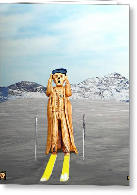 The Scream World Tour Skiing  Greeting Card by Eric Kempson