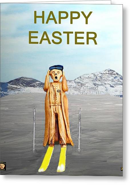 Super-g Skiing Greeting Cards - The Scream World Tour Skiing Happy Easter Greeting Card by Eric Kempson
