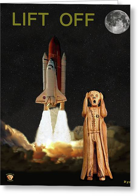 Recently Sold -  - Enterprise Mixed Media Greeting Cards - The Scream World Tour Space Shuttle Lift Off Greeting Card by Eric Kempson