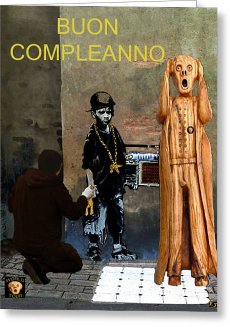 Olive Wood Sculpture Mixed Media Greeting Cards - The Scream World Tour  street art Happy Birthday Italian Greeting Card by Eric Kempson