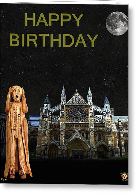 The Scream World Tour Westminster Abbey Happy Birthday Greeting Card by Eric Kempson