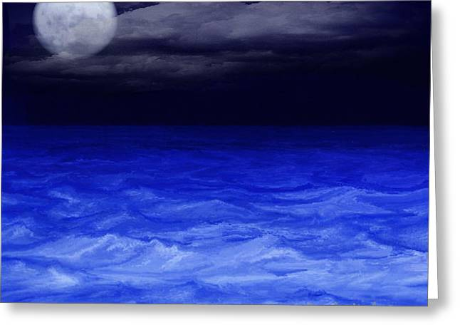 The Sea At Night Greeting Card by Gina Lee Manley