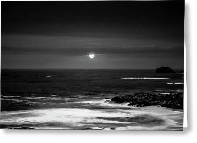 The Sea By Night Greeting Card by Martina Fagan