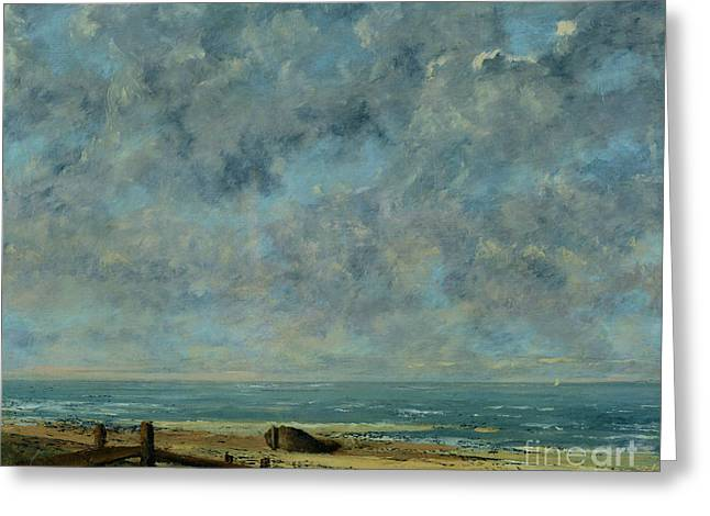 Courbet Paintings Greeting Cards - The Sea Greeting Card by Gustave Courbet