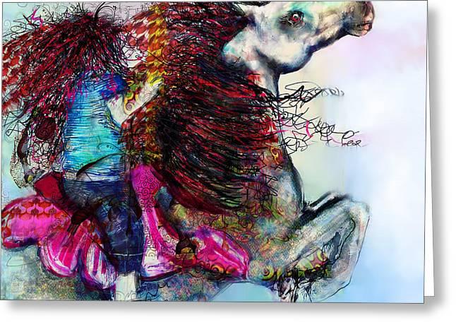 The Sea Horse Fairy Greeting Card by Kari Nanstad