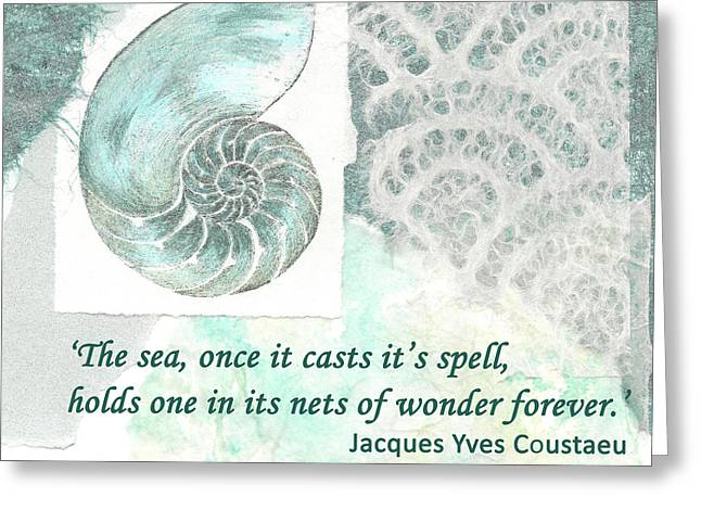 'the Sea Once It Cats It's Spell...' Quote Greeting Card by Lisa Le Quelenec