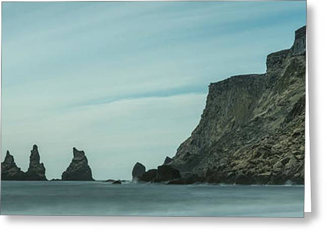 The Sea Stacks Of Vik, Iceland Greeting Card by Andy Astbury