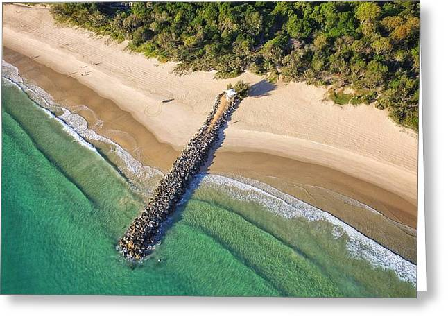 Greeting Card featuring the photograph The Sea Wall Near Noosa Main Beach by Keiran Lusk