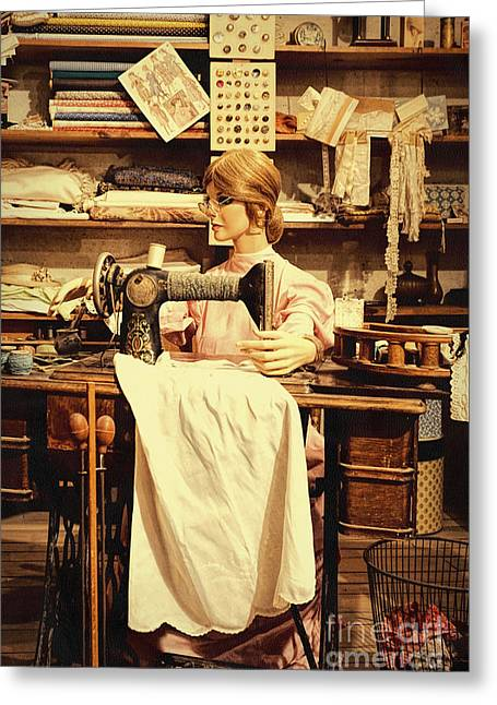 The Seamstress At Work Greeting Card by Priscilla Burgers
