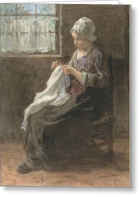 The Seamstress Greeting Card by Jozef Israels