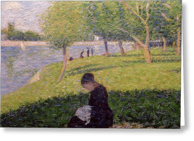 The Seamstress Or Sunday At The Grande Jatte Greeting Card by Georges Pierre Seurat