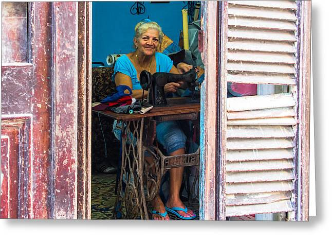 Greeting Card featuring the photograph The Seamstress by Rand