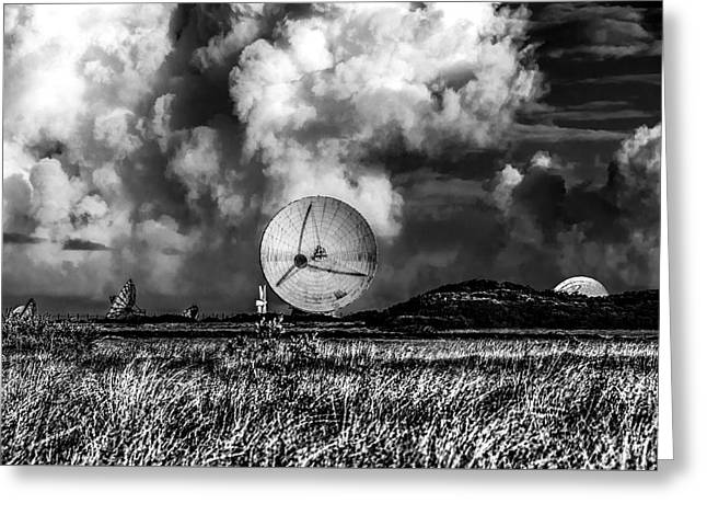 The Searchers 2. A Dramatic Fine Art Photographic Print Of The Radio Telescopes At Goonhilly Downs  Greeting Card by Lee Thornberry