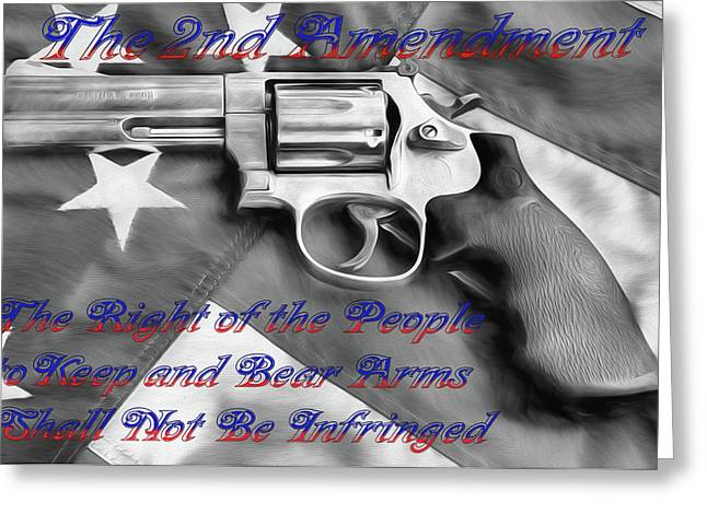 Greeting Card featuring the digital art The Second Amendment Black And White by JC Findley