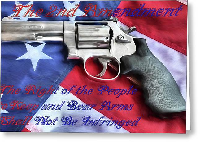 Greeting Card featuring the digital art The Second Amendment by JC Findley