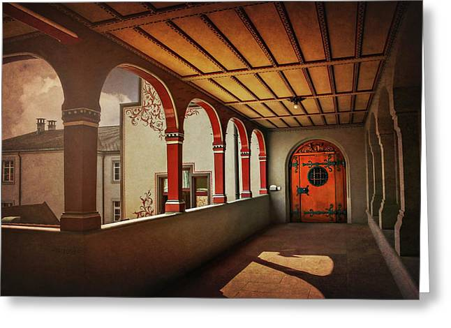 Greeting Card featuring the photograph The Secret Door In Basel Switzerland  by Carol Japp
