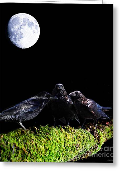 The Secret Society . Ravens Of The Night Under The Moon Greeting Card by Wingsdomain Art and Photography