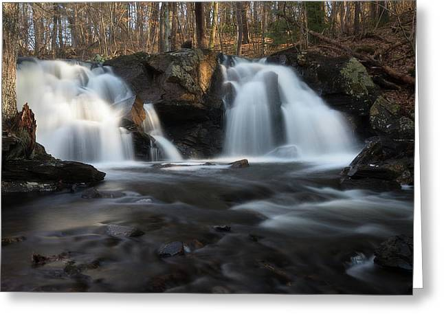 The Secret Waterfall In Golden Light Greeting Card