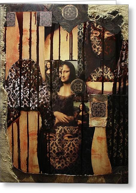 The Secrets Of Mona Lisa Greeting Card by Michael Kulick