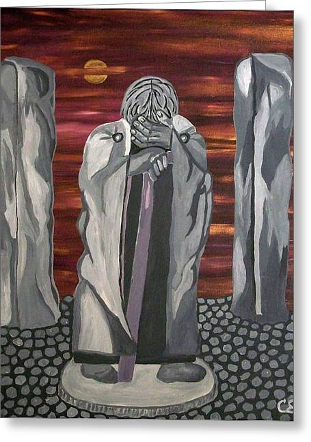 Greeting Card featuring the painting The Seer by Carolyn Cable