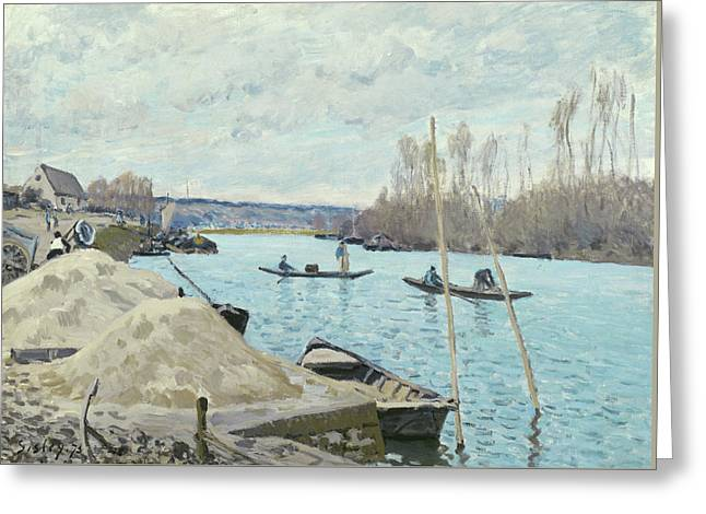 The Seine At Port Marly, Piles Of Sand Greeting Card by Alfred Sisley