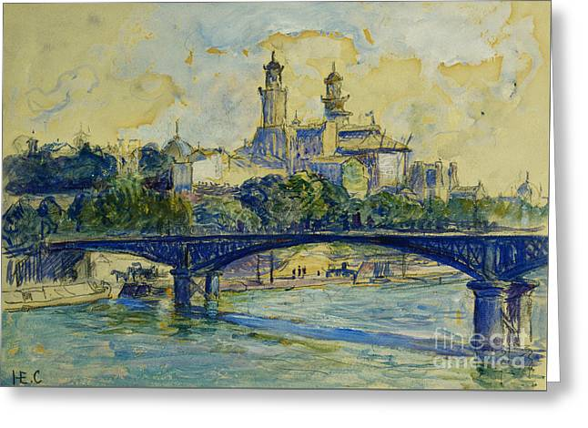 The Seine In Front Of The Trocadero Greeting Card by Henri-Edmond Cross